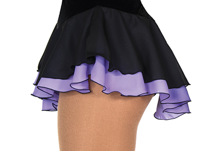 Double Layer Figure Skating Skirt Black/Purple