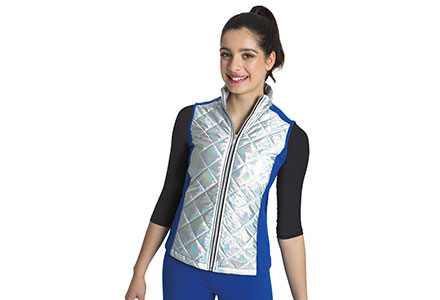 Iridescent Quilted Gilet With Lycra Side Panels Royal Blue