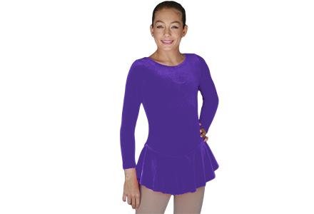 Chloe Noel Long Sleeve Plain Velvet Ice Skating Dress From