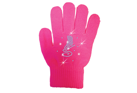 Rhinestone Ice Skate Gloves Fuschia