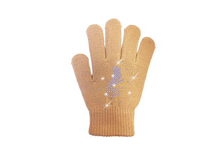 Rhinestone Ice Skate Gloves Neutral