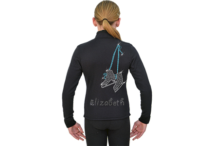 Chloe Noel Tied Ice Skates Personalised Jacket Black / Skate Lace Turquoise