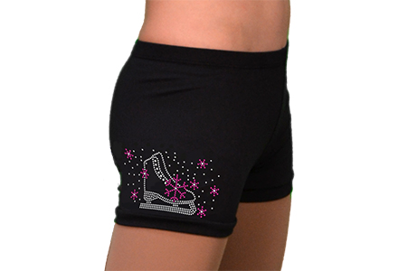Rhinestone Ice Skating Shorts Skate Fuschia Crystal