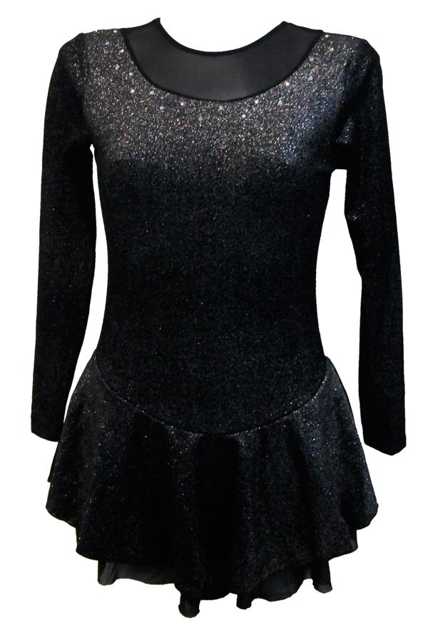Chloe Noel Sparkle Velvet Long Sleeve Figure Skating Dress