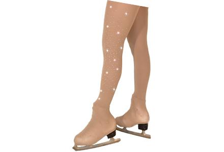 6d9a7ddd048bf Chloe Noel Light Tan 1 Leg Rhinestone Ice Skating Tights From Skatey ...